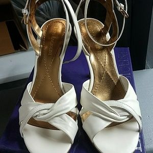 Enzo Angiolini ivory leather, ankle strap heel